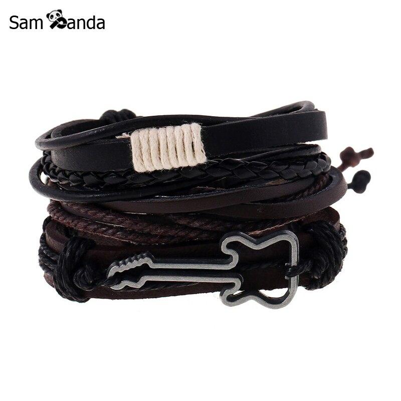 Meilleur achat ) }}Fashion Jewelry Alloy Guitar Bracelet Hemp Rope Woven PU Rivet Beaded