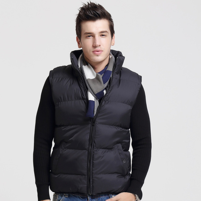 New Winter Spring Men's Vests Male Down Cotton Casual Thermal Coat Fashion Warm Thick Sleeveless Jackets Brand Clothing LA106