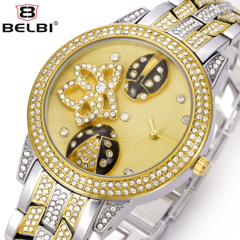 ФОТО BELBI Brand Women Rhinestone  Watch Lady Oval Alloy Steel Quartz Watch Dress Ladybug Gold Luxury Wristwatches Relogio Feminino