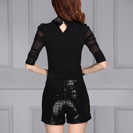 2019 Women Sheepskin Leather Suede Print Shorts K43