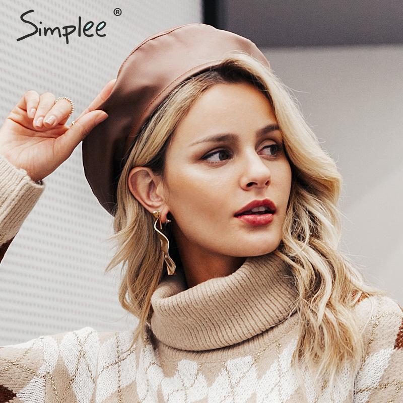 Simplee 2019 Fashion women beret cap Casual PU leather autumn winter hat Retro female beanie caps Vintage painter beret hats new