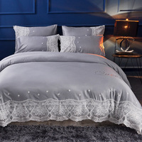 4Pcs Washed Silk Luxury Lace Bedding Set Gray Beige Bed Set King Queen Bed Linens Duvet