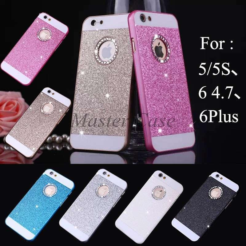 "2016 Bling Logo Window Luxury phone case for iPhone 5 5S SE 6 6S Plus 6plus 6Splus 4.7"" 5.5"" Shinning back cover Sparkling case"