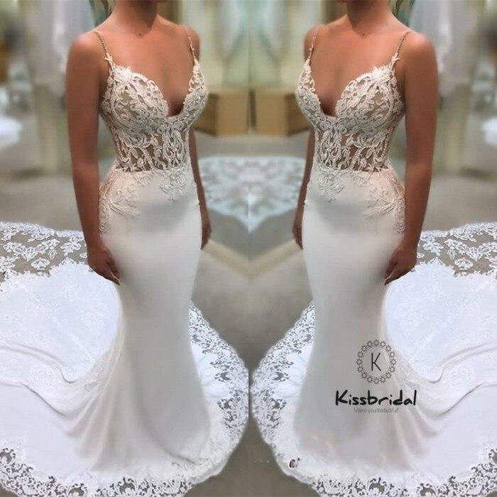 de7d2188b44 Gorgeous Spaghetti Straps Mermaid Wedding Dress V-neck Appliques Lace Bride  Dresses Sweep Train vestidos