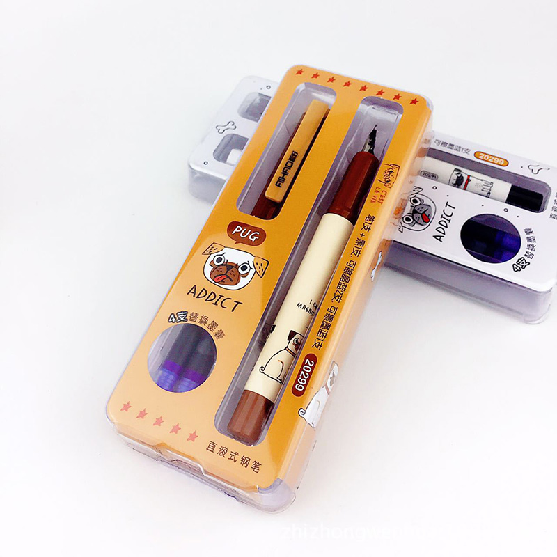 Cute Kawaii Cartoon Dog Plastic Fountain Pen Set With Ink Sac For Calligraphy Writing School Materials Student 926