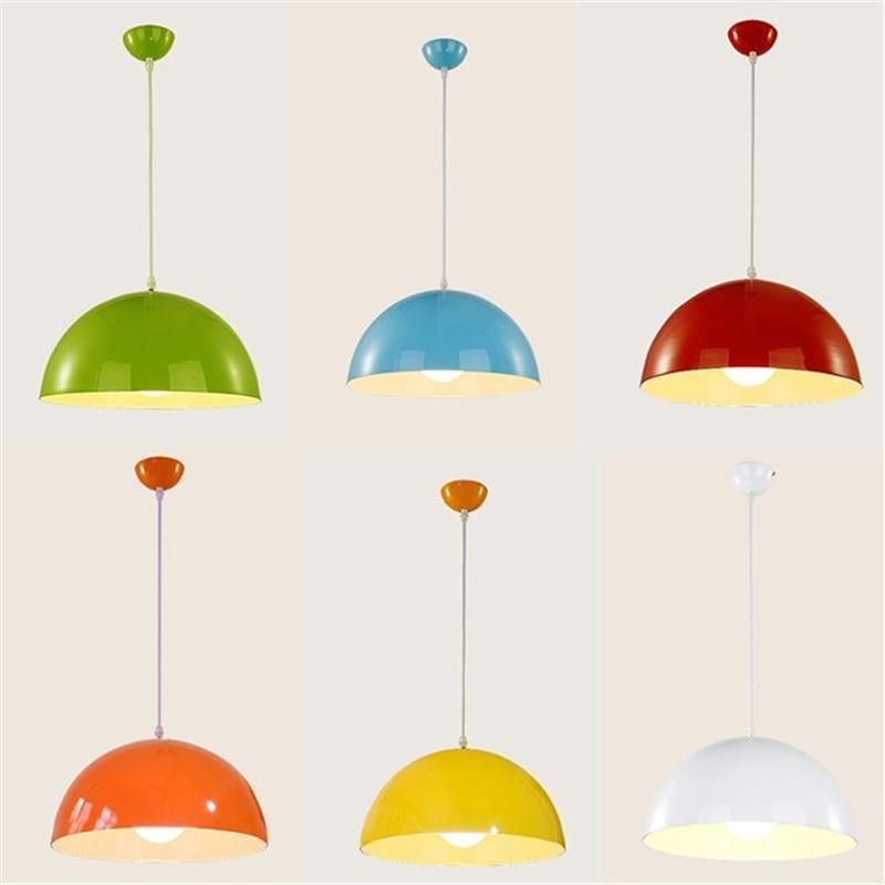 Modern single head pendant chandelier lamp restaurant office hairdressing restaurant colorful half round hanging lamp