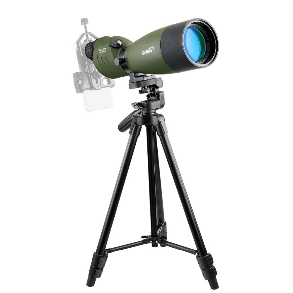 SVBONY SV17 Spotting Scope 25-75x70 mm Zoom Waterproof Nitrogen 180 De for Target Hunting Telescope with Long Tripod F9326G