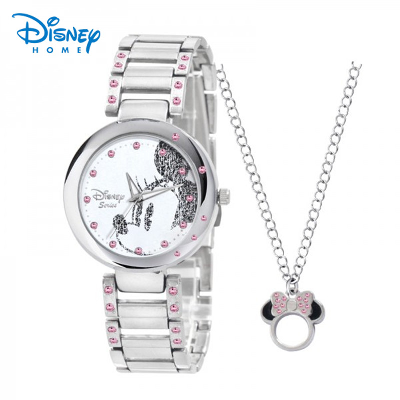 Prix pour Disney Montres Mode Casual Bracelet En Acier Inoxydable Minnie Quartz Montre Femmes Montres Argent Strass Genève Relogio Feminino