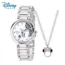 Disney Montres Mode Casual Bracelet En Acier Inoxydable Minnie Quartz Montre Femmes Montres Argent Strass Genève Relogio Feminino