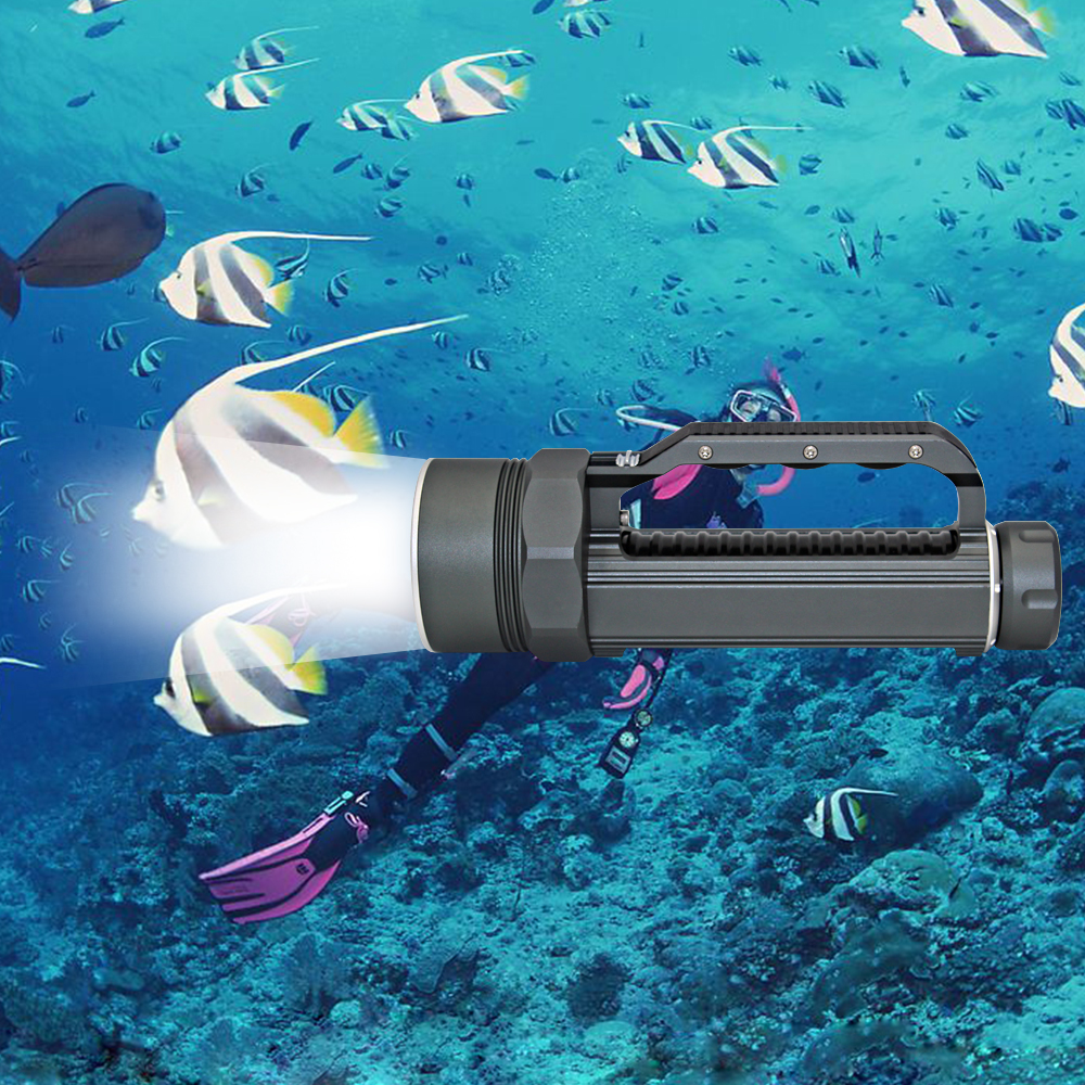 Underwater Diving Flashlight Dive Light Waterproof Torch 6x Cree XM-L2 LED White Lighting + 32650 Battery + EU/US Charger