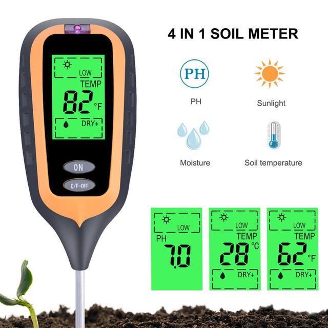 חדש 4 in 1 קרקע בודק PH מד לחות מדדי לחות מדחום צמח אור בעוצמה מטר לגן, שתילה, אדמות חקלאיות