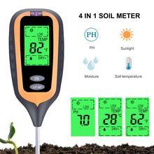 New 4 in 1 Soil Tester PH Meter Moisture Hygrometer Thermometer Plant Light Intensity Meter for Garden, Planting, Farmland