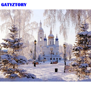 Ramka GATYZTORY Śnieg Scena zrób to sam Malowanie numerami Zestaw Malarstwo ścienne Krajobraz Unikalny prezent Farba akrylowa według liczb Dla sztuki domowej