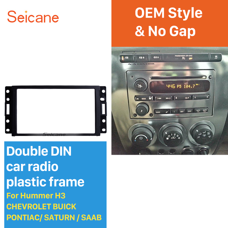 Seicane Double Din Car Radio Fascia for Hummer H3 CHEVROLET BUICK PONTIAC/ SATURN/SAAB Surround Panel Auto Trim Stereo Dash CD