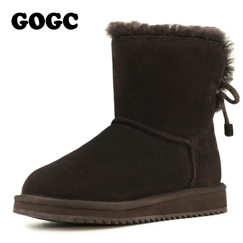 GOGC 2018 New Genuine Leather Ankle Boots Women's Winter Boots Women's Winter Shoes Snow Breathable Women Shoes Female Footwear serene handmade winter warm socks boots fashion british style leather retro tooling ankle men shoes size38 44 snow male footwear