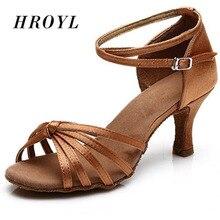 New Brand tango heeled satin dancing girls women  ballroom latin shoes ladies 5CM and 7CM brown