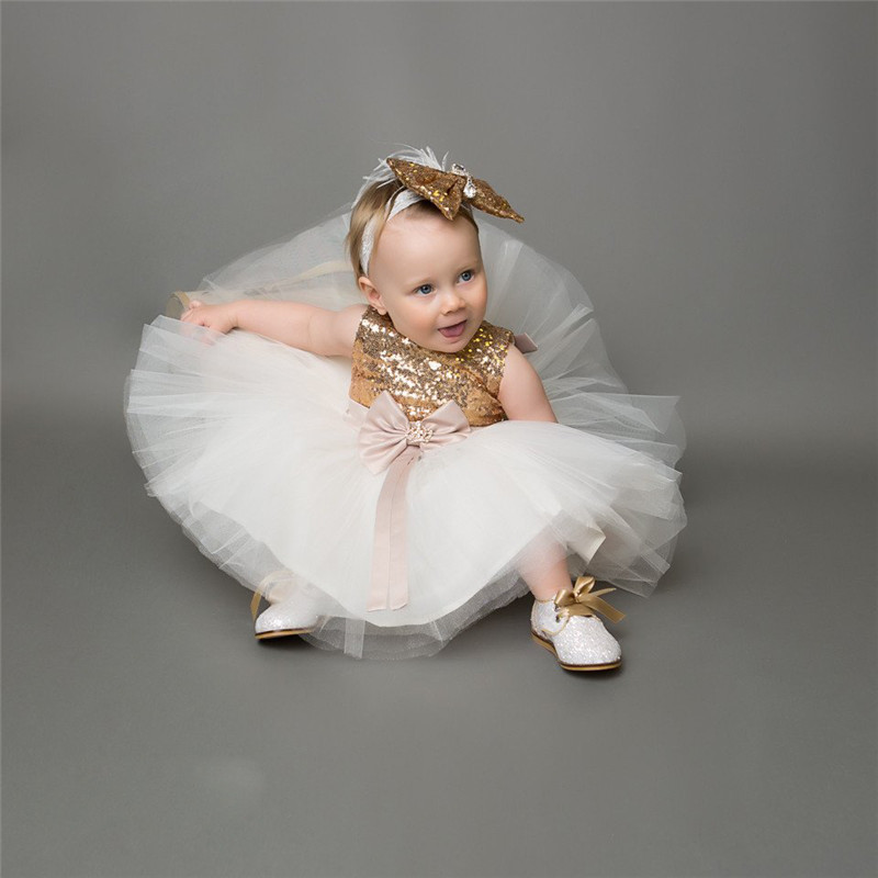 Girls Bowknot Party Gown Formal Dresses Princess Kids Baby Girl Dress Children Clothing Sequins Dresses Costume Handband 2pc 2