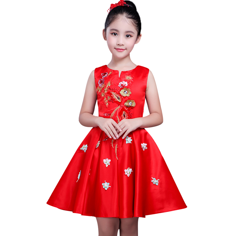Embroidery Girl Dresses for Christmas Children Dress Princess Baby Girl Wedding party dress New Year clothes for Girls toddler girl dresses chinese new year lace embroidery flowers long sleeve baby girl clothes a line red dress for party spring