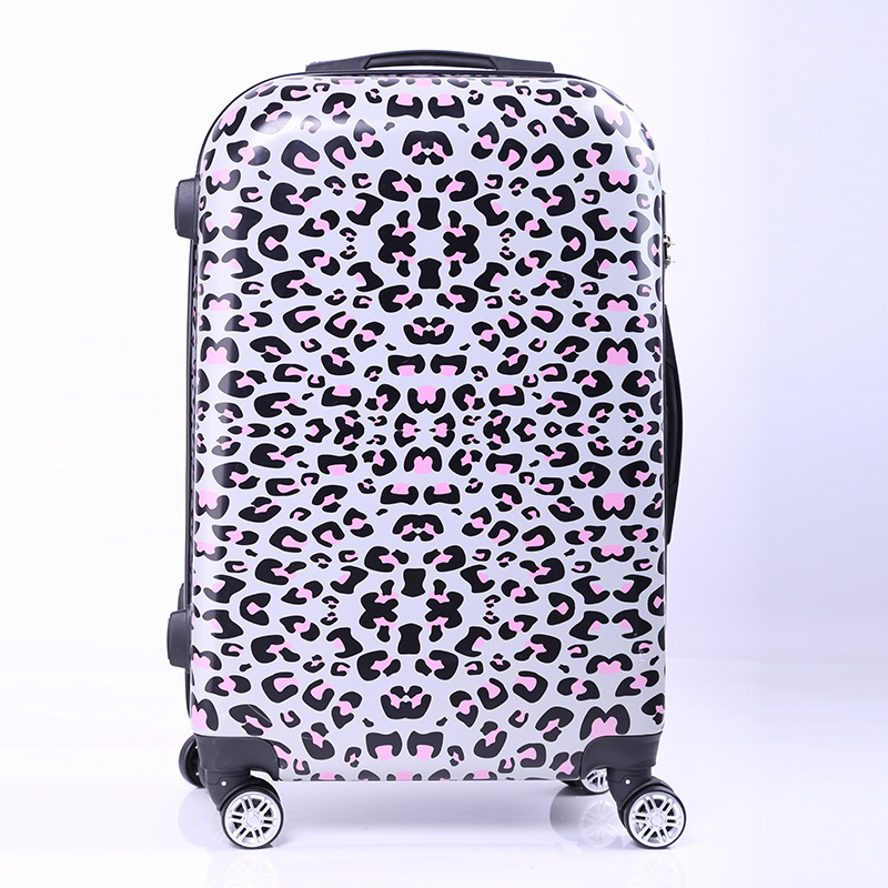New Women Fashion Leopard Trolley Luggage,Girls Hard Shell Luggage, Universal Wheels Trolley Luggage Bag Boarding Case 20 24 luggage