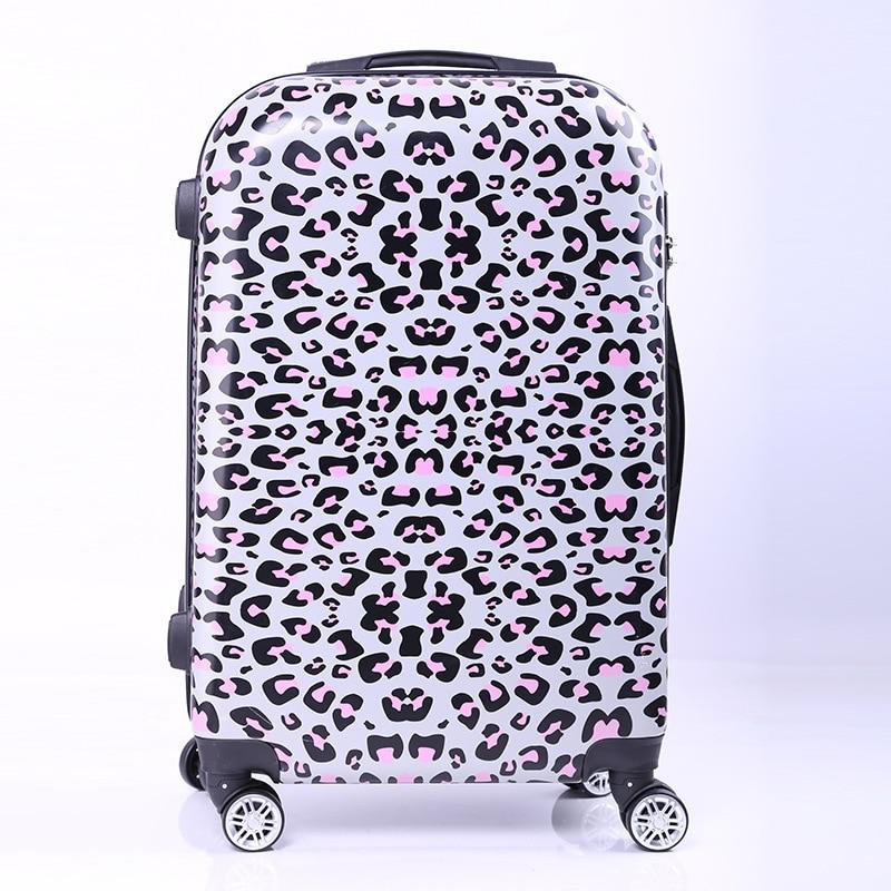 New Women Fashion Leopard Trolley Luggage,Girls Hard Shell Luggage, Universal Wheels Trolley Luggage Bag Boarding Case 20 24