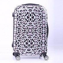 New Women Fashion Leopard Trolley Luggage,Girls Hard Shell Luggage, Universal Wheels Trolley Luggage Bag Boarding Case 20″ 24″