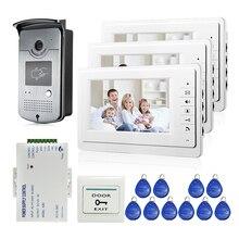FREE SHIPPING New 7″ LCD Color Video Door Phone Doorbell Intercom System 3 White Screens 700TVL RFID Access Door Camera In Stock