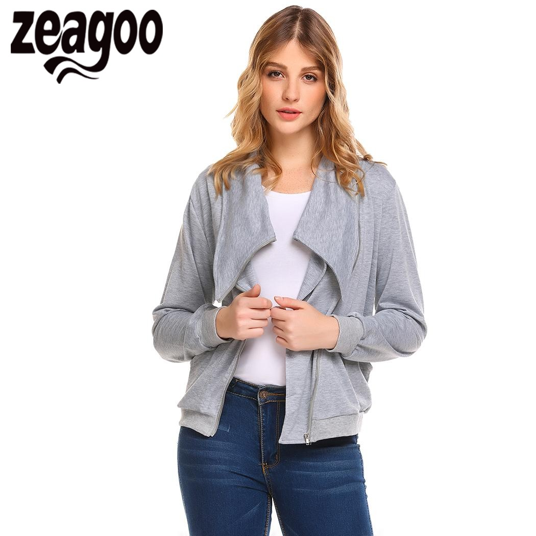 Zeagoo 2018 Autumn Women Coat Jacket Turn Down Collar Zip Up Solid Slim Fit Casual Bomber Jacket with Pocket chaqueta mujer