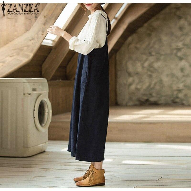 ZANZEA 2018 Summer Rompers Womens Jumpsuit Sleeveless Strappy Playsuit Long Wide Leg Pants Overalls Combinaison Femme Plus Size