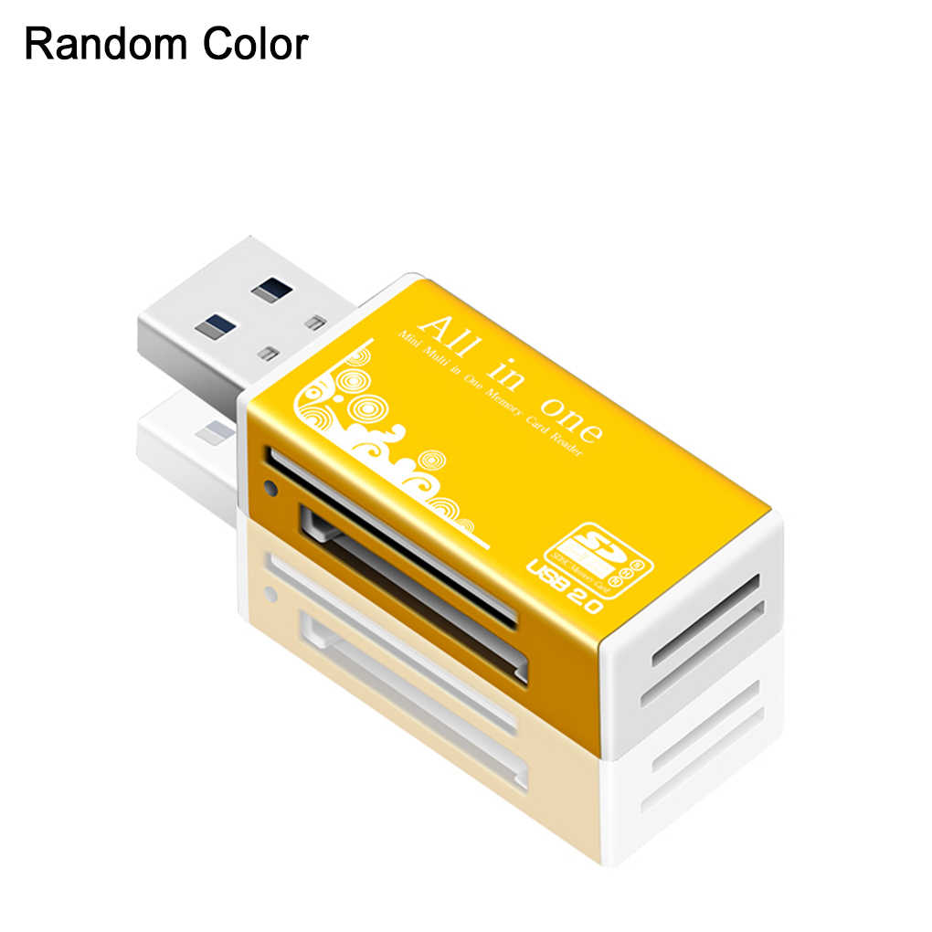 Warna Acak PC Laptop Aluminium SD MS M2 Kartu Memori TF Semua Dalam 1 Mini USB 2.0 Card Reader