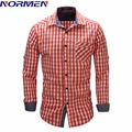 NORMEN Brand Men's Fashion Plaid Shirt Easy Care EUR Size Top Grade Shirt For Men camisa social masculina chemise homme Hot Sale