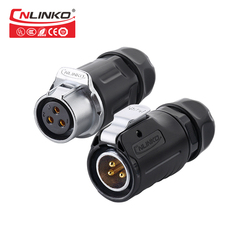UL approved M20 3pin power connector IP67 Waterproof Wire Connector For LED Display Lighting 20A Male Female Quick Plug 20A 500V