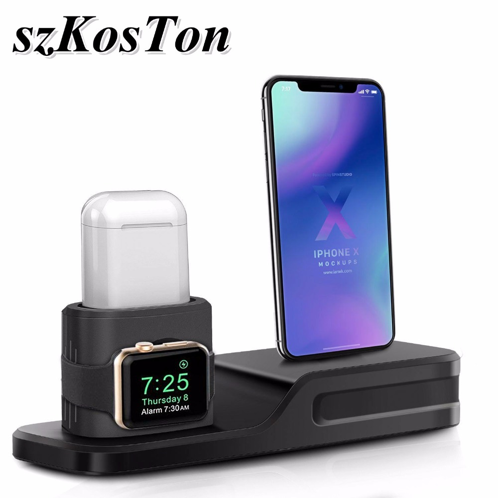 3 in 1 Silicone Desk Charging Stand for Apple Watch Series 3 2 1 38mm 42mm Charging Dock Holder Station for Airpods iPhone X 8 цена