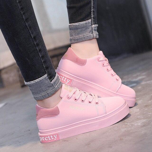 6da029a69 2018 Primavera New Designer de moda Cunhas Plataforma Rosa Vulcanize Sapatos  Tenis Feminino Sapatos Femininos Sapatos