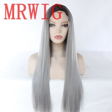 MRWIG Ombre/Grey Synthetic Front Lace Wig Heat Resistant Fiber Middle Part 60cm Natural Looking Hair wig