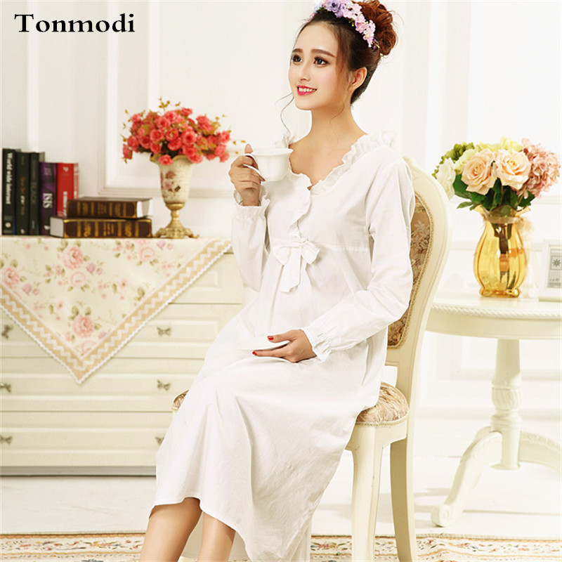 2018 Nightdress For Women Spring And Autumn Sexy Long-sleeve Sleepwear V Colla Cotton White Long Nightgowns Princess Sleepshirts