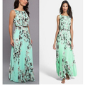 Women Bohemian Dress Summer Dress 2016 O-neck Sleeve Sleeve Floral Printed Maxi Dresses Long Pleated Vestidos WYZ7113