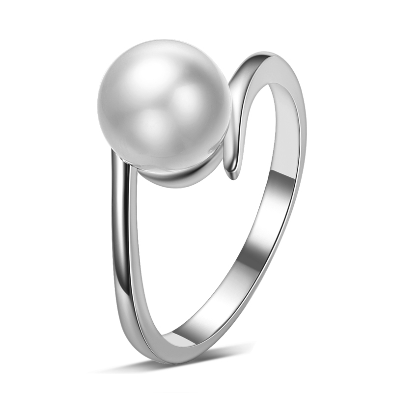 Hot sell imitation shell pearl 925 sterling silver dam`finger vigselringar smycken grossist droppe frakt kvinnor ring billigt