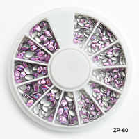 AB Cores 1 Roda Mix Strass Decorações Da Arte Do Prego de Metal Lantejoulas Tachas e Spikes para Nail Salon Nails Art Dekor suprimentos