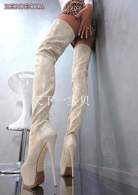 Top selling white leather 16 cm high hell over-the-knee long boots stiletto heel thigh high boots platform high quality shoes come hell or high water