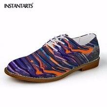 Zapatos de vestir de negocios de cuero con estampado de pintura de diseño Vintage para hombre zapatos planos informales con cordones cómodos zapatos Oxford