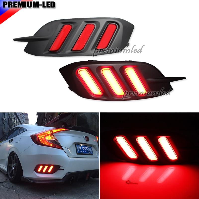 JDM Fluid Style Red LED Rear Bumper Reflector, Rear Fog Light Kit For 2016-up Honda Civic Sedan (Excluding Hatchback)
