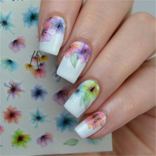1 Sheet Colorful Nail Art Water Decals Chinese Ink Flower Painting ...