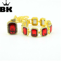 Mens Gold Tone Colorful Pendant Necklace Bracelet Set Gold Plated Iced Out Square Red Black Blue