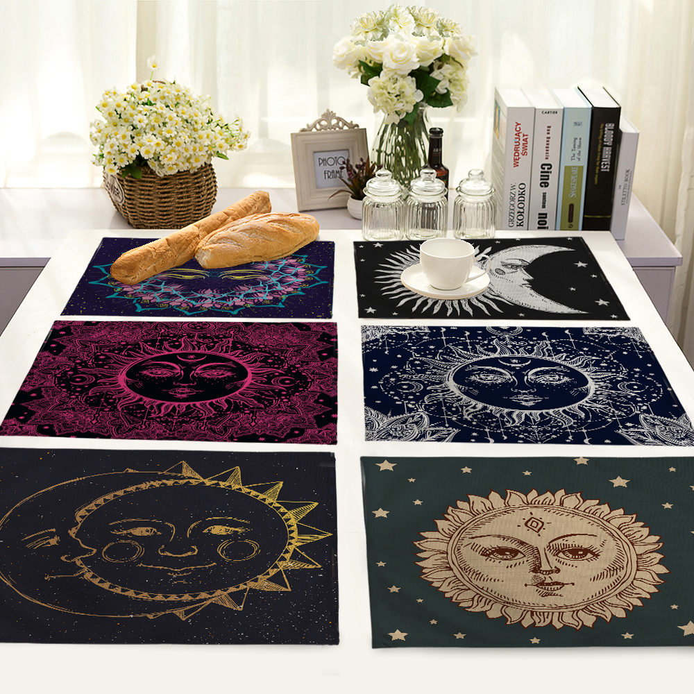 Cartoon Sun Pattern Table Mat Napkin Placemat Kitchen Decoration Dining Accessories 42x32cm MC0062
