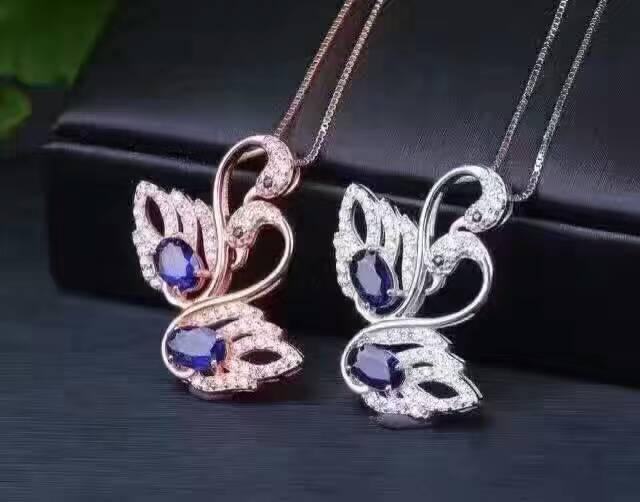 natural sapphire pendant S925 silver Natural gemstone Pendant Necklace trendy romantic Double Swan women wedding fine jewelry