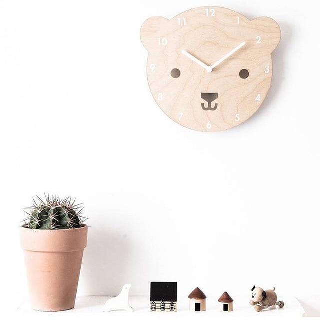 1pc Nordic Cartoon Kids Room Wall Decor Wall Clock Wood Living Room  Decoration Children Gift Figurines Bear Clocks Free Shipping