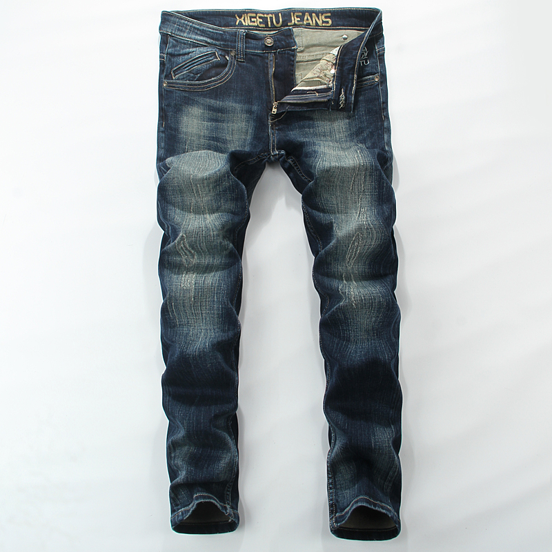 Mid Stripe Men`s Blue Jeans Ripped Slim Fit Denim Pants High Quality Brand Clothing Simple Designer Moto Biker Jeans Men RL627 rl629 men s blue jeans slim fit denim ripped pants uomo high quality designer brand clothing moto biker jeans with logo men