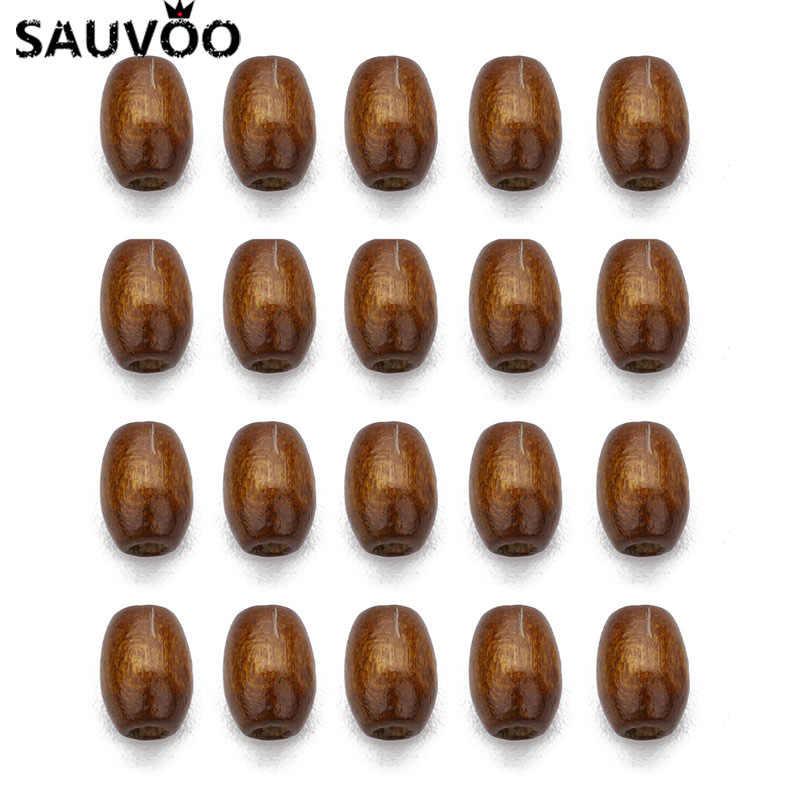 SAUVOO 500pc Natürliche Holz Perlen Braun Barrel Form Spacer Perlen Keine Schaden Perlen für DIY Kid Halskette Jewelrys Zeug 6X8mm