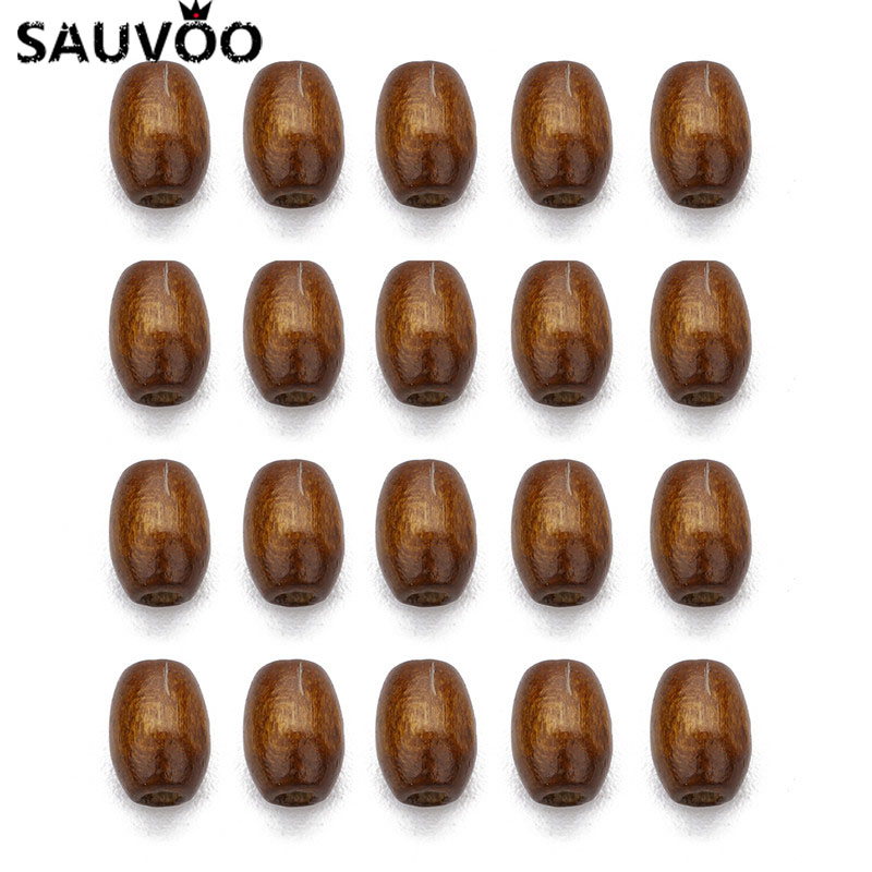 SAUVOO 500pc Natural Wooden Beads Brown Barrel Shape Spacer Beads No Harm Beads for DIY Kid Necklace Jewelrys Makings 6X8mm(China)