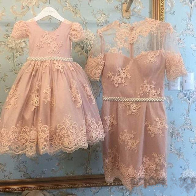 New arrival Pink lace flower girl dresses with beading sash gorgeous pageant gowns for little girls glitz